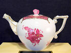 HEREND CHINESE BOUQUET RASPBERRY TEAPOT,FOR 2 TEA CUPS,BUTTERFLY LID END,RARE !!