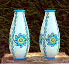 ART DECO PAIR OF VASES SIGNED Charles Catteau Boch Freres Keramis Pottery Vase