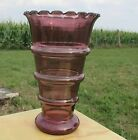 Large Vintage Purple Cranberry Glass Vase Hand Blown Hooped Beautiful