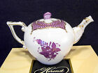 HEREND CHINESE BOUQUET LAVENDER TEAPOT,FOR 2 TEA CUPS,BUTTERFLY LID END