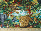 REALISTIC JUNGLE ANIMALS, LIONS, ELEPHANTS, GIRAFFES  CP34304/SPRINGS  44 INCHES