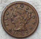 1847 Braided Hair Large Cent N-28 Variety RARE R.4 XF Detailing 76-200 known .01