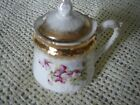 Antique Porcelain Horseradish Jar with Handle and  Lid Violets and Gold Rim