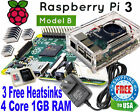 Raspberry Pi 3 Model B 1GB RAM Clear Case w fan AC 2 Amps 8GB SD NOOBS WIFI