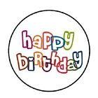 48 Colorful Happy Birthday ENVELOPE SEALS LABELS STICKERS 12 ROUND