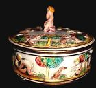 CLASSIC, VINTAGE, CAPODIMONTE PUTTI, HAND PAINTED/W OLD MARK, TRINKET BOX-LOVELY