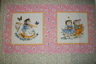 1930's Look   Retro Kitten Squares Panel of 2  In The Beginning   11.75