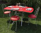 Vintage 1950's Drop Leaf Red Formica/Chrome Kitchen Table w/ Four Chairs