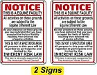 2 Pack Supplemental Equine Liability Sign warning statute horse barn stable