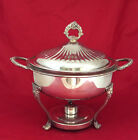 Vintage English Silver Silverplate Chafing Dish & Lid w/ Pyrex Glass Dish