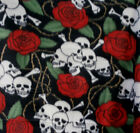 Skull Heads with Roses on Black Fleece Fabric By the Yard