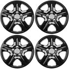 4 PC Hub Caps Snap On Steel Clips 16 inch ICE BLACK GLOSSY Wheel Cover Cap