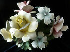 Vintage CAPODIMONTE Large ROSE FLOWER ARRANGEMENT CENTERPIECE in basket - ITALY