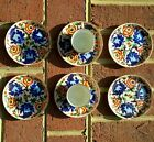 Chinese cloisonne Handpainted Demitasse Cups Set 6 Saucers/ 2 cups /Beehive mark