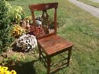 Antique Wooden Wood Ornate Designed Rustic Primitive Seating Chair Pin Striped