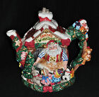 Fitz & Floyd Collector Christmas Santa's Magic Workshop Teapot in Box Elves Toys