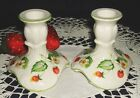 JAMES KENT STRAWBERRY CANDLESTICKS BONE CHINA CANDLE HOLDERS OLD FOLEY ENGLAND