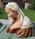 Antique Virgin Mary Madonna Plaster Statuette Bust Chalk