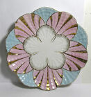 Antique Victorian Bone China Porcelain Shell Form Oyster Plate Pink Gold Blue