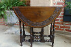 PETITE Antique English Carved Oak Drop Leaf Tea Table Sutherland End Table