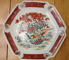 Vintage Asian Red+Gold Hexagon Porcelain Peacock Plate Dishes-Stamp AA NA-7 1/2