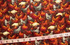 2 yd Cotton Fabric Brownish Black with Chickens/Roosters Cream/Red/Orange/Brown