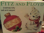 FITZ AND FLOYD KRISTMAS KITTY CHRISTMAS SALT & PEPPER SHAKERS