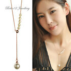 Simple/Concise Design Pearl Long Drop Pendant/Necklce/white gold/Rose gold/N484