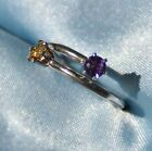 COUPLES OR MOTHERS TWO BIRTHSTONE RING- .925 STERLING AND GENUINE GEMSTONES
