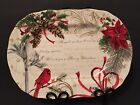 222 Fifth Holiday Wishes Cardinal Christmas Oval Serving Platter