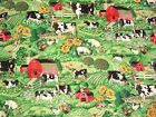 FARM COW-PIG-CHICKEN-BARN--PASTURE-SUNFLOWERS Joan Kessler Concord Fabric BTYd