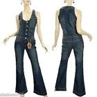 NEW Vanilla Star Womens Denim Jumpsuit 70s Vintage Over all Jeans XS X Small