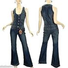 NEW Vanilla Star Womens Denim Jumpsuit 60s 70s Vintage Over all Jeans L Large