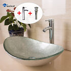 Oval Bathroom Vessel Sink Artistic Glass W Chrome Faucet  Pop Up Drain Combo