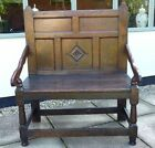 17th Century English Antique Oak Settle Bench Wainscot Chair Two Seater, C.1680