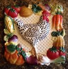 FITZ & FLOYD GARDENING GOURMET ROOSTER PLATE PLAQUE WALL HANGING  DECOR