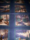 1 panel WINTER FOREST Holly Taylor for Moda Fabrics Flannel bear moose Blue