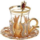 Set of 6 Turkish Tea Glass Glasses Saucers Spoon Set with Crystals GOLD