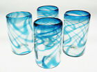 Mexican Glass Turquoise Fused Swirl tumblers hand blown 16 oz set of 4