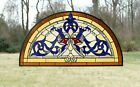 Half Round Handcrafted stained glass window Beveled Glass panel  34 x 1825