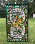 Rose Flower Handcrafted stained glass window panel 20 x 34