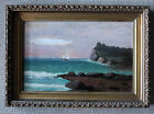 Antique, Framed Luminous Oil On Canvas Of Ship Along The Coast/late 1800s