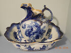 GLOIRE DE DIJON FLOW BLUE WASH BASIN AND PITCHER BY DOULTON **GOLD**