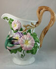Fitz & Floyd 1993 Hummingbirds Pitcher #d Sculpted Pink Purple Flowers Branches