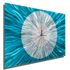 Modern Aqua  Silver Wall Clock Contemporary Metal Wall Art Decor by Jon Allen