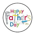 48 Happy Fathers Day 2 ENVELOPE SEALS LABELS STICKERS 12 ROUND