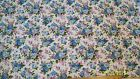 WAVERLY FRENCH NOSEGAY FABRIC / 34X26 BLUE LILAC VIOLET GREEN WHITE BACKGROUND