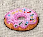 Pink Frosted Donut Sprinkles Sweet Treat Iron on Applique Embroidered Patch