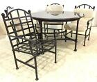 Round Granite Stone Top Wrought Iron Patio Table Lot 2004