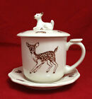 Mug with Lid and Saucer Features Baby Deer / Fawn and Leaf's with Acorns